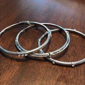 Set of 3 Lia Sophia silver bangles